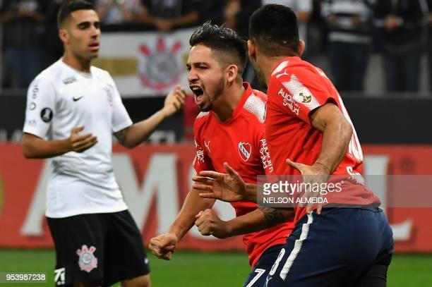 Martin Benitez of Argentina's Independiente celebrates after scoring against Brazil's Corinthians during their 2018 Copa Libertadores football match...