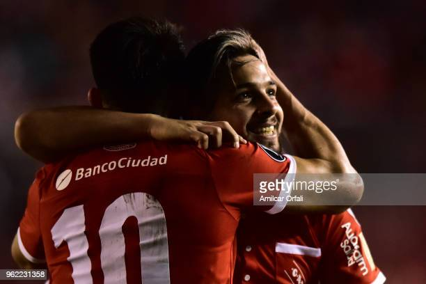 Martin Benitez of Independiente celebrates with teammate Fernando Gaibor after scoring the opening goal during a match between Independiente and...
