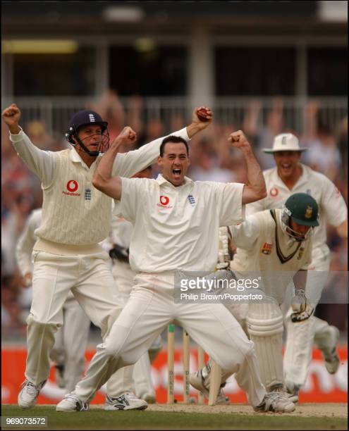Martin Bicknell of England celebrates after trapping Graeme Smith of South Africa LBW for 19 runs in the 5th Test match between England and South...