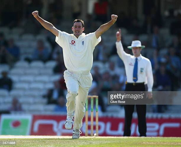 Martin Bicknell of England celebrates taking the wicket of Mark Boucher of South Africa after he was caught behind by Alec Stewart of England for...