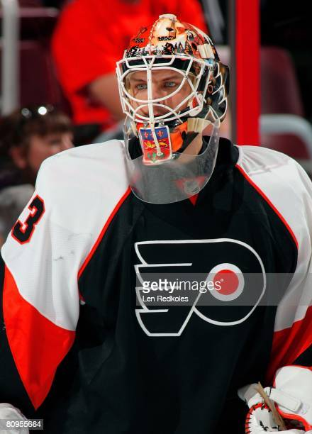 Martin Biron of the Philadelphia Flyers looks on during warm ups against the Montreal Canadiens during game four of the Eastern Conference Semifinals...