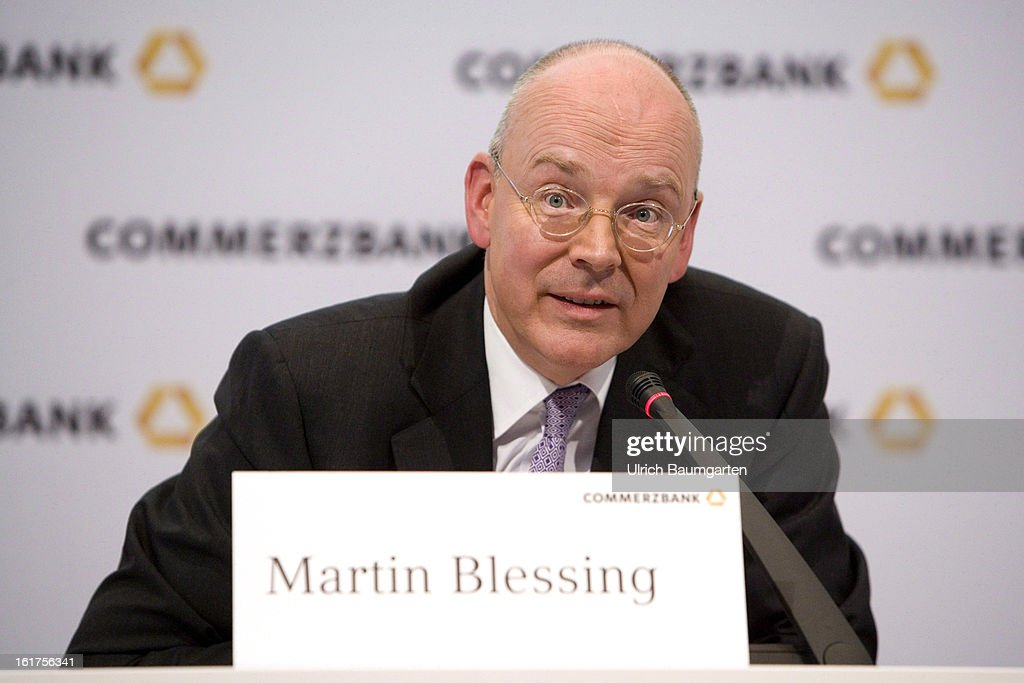 Martin Blessing, CEO of Commerzbank AG, speaks during the company's annual press conference to present the 2012 results on February 15, 2013 in Frankfurt am Main, Germany. Chief Executive Martin Blessing announced at the press conference that he will waive his annual bonus as a result of the bank's unsatisfactory annual profit.