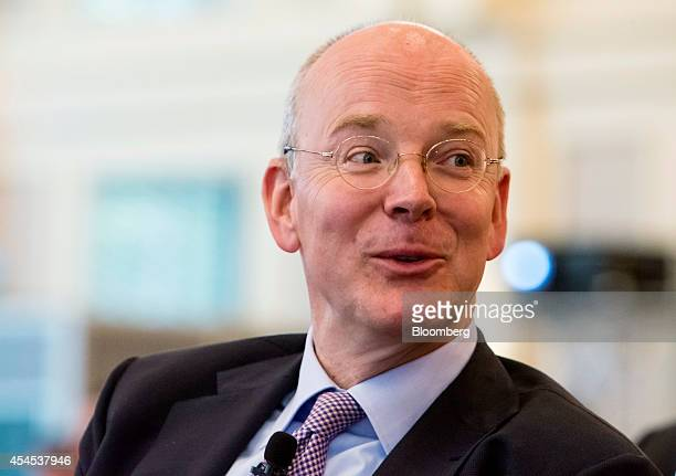 Martin Blessing chief executive officer of Commerzbank AG reacts as he speaks during the Banks In Transition Conference in Frankfurt Germany on...