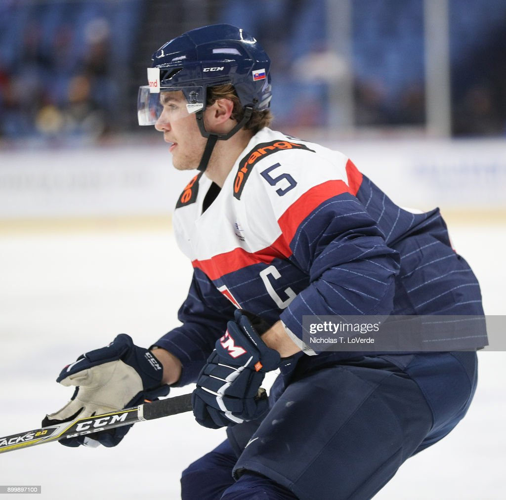Martin Bodák #5 of Slovakia skates against Finland during the first period of play in the IIHF World Junior Championships at the KeyBank Center on December 30, 2017 in Buffalo, New York.