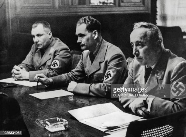 Martin Bormann, Rudolf Hess and Robert Ley listening to a speech by Hermann Goering at the Nazi party congress Berlin, Germany, 20th century.
