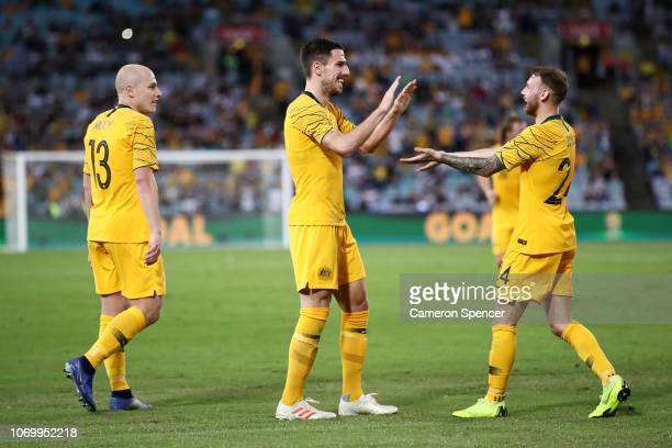 Martin Boyle of Australia celebrates scoring a goal with team mate Milon Degenek of Australia who assisted him during the International Friendly...