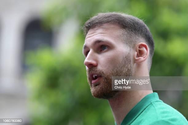 Martin Boyle speaks to media during an Australian Socceroos media opportunity at Reddacliff Place on November 13 2018 in Brisbane Australia