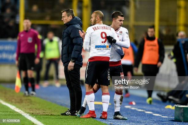 Martin Braithwaite and Nicolas De Preville of Bordeaux during the Ligue 1 match between Strasbourg and Bordeaux at on February 3 2018 in Strasbourg