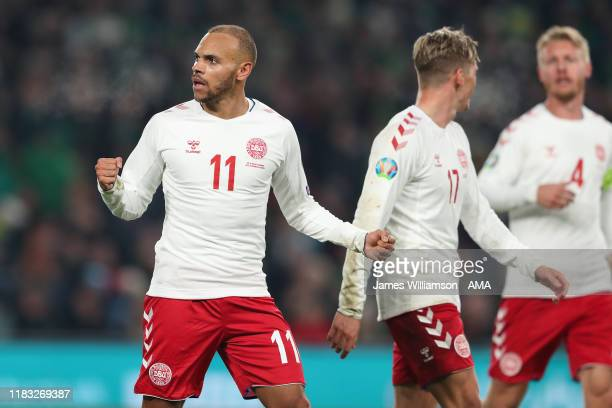 Martin Braithwaite celebrates after scoring a goal to make it 01 during the UEFA Euro 2020 qualifier between Republic of Ireland and Denmark so at...