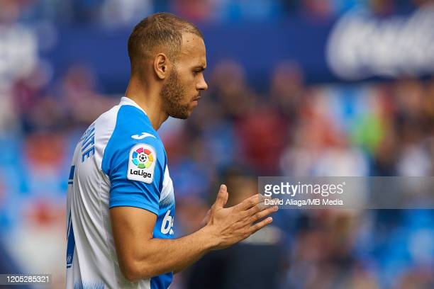 Martin Braithwaite Christensen of CD Leganes reacts prior to the Liga match between Levante UD and CD Leganes at Ciutat de Valencia on February 8...