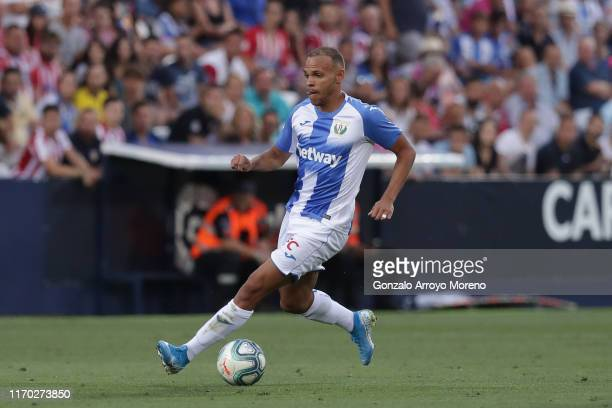 Martin Braithwaite Christensen of Deportivo Leganese controls the ball during the Liga match between CD Leganes and Club Atletico de Madrid at...