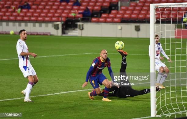 Martin Braithwaite of Barcelona misses a chance during the La Liga Santander match between FC Barcelona and SD Eibar at Camp Nou on December 29, 2020...