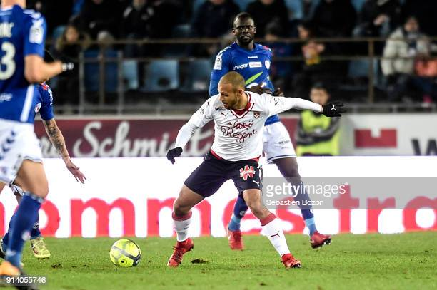 Martin Braithwaite of Bordeaux during the Ligue 1 match between Strasbourg and Bordeaux at on February 3 2018 in Strasbourg