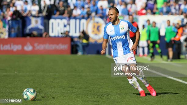 Martin Braithwaite of CD Leganes controls the ball during the Liga match between CD Leganes and Real Betis Balompie at Estadio Municipal de Butarque...