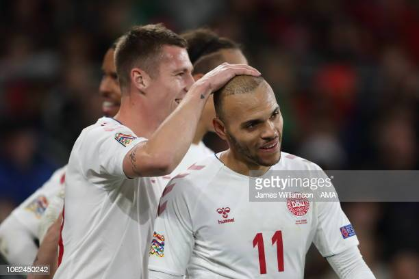 Martin Braithwaite of Denmark celebrates after scoring a goal to make it 20 during the UEFA Nations League B group four match between Wales and...