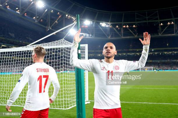 Martin Braithwaite of Denmark celebrates after scoring his sides first goal during the UEFA Euro 2020 qualifier between Republic of Ireland and...