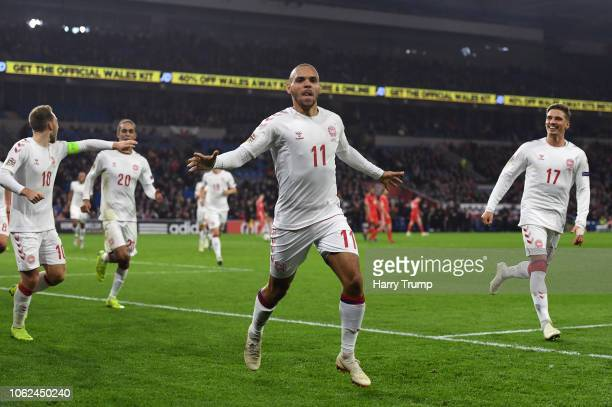 Martin Braithwaite of Denmark celebrates after scoring his team's second goal during the UEFA Nations League Group B match between Wales and Denmark...
