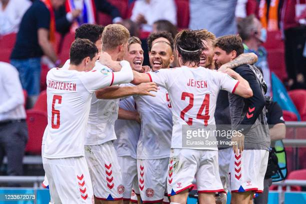 Martin Braithwaite of Denmark celebrates his goal with his teammates during the UEFA Euro 2020 Championship Round of 16 match between Wales and...