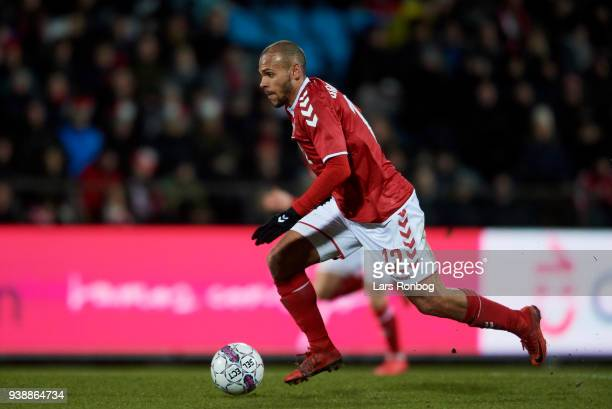 Martin Braithwaite of Denmark controls the ball during the International friendly match between Denmark and Chile at Aalborg Stadion on March 27 2018...