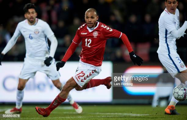 Martin Braithwaite of Denmark in action during the International friendly match between Denmark and Chile at Aalborg Stadion on March 27 2018 in...