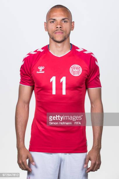 Martin Braithwaite of Denmark poses during official FIFA World Cup 2018 portrait session on June 12 2018 in Anapa Russia