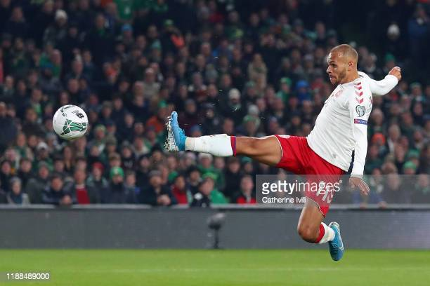 Martin Braithwaite of Denmark scores his sides first goal during the UEFA Euro 2020 qualifier between Republic of Ireland and Denmark at Dublin Arena...
