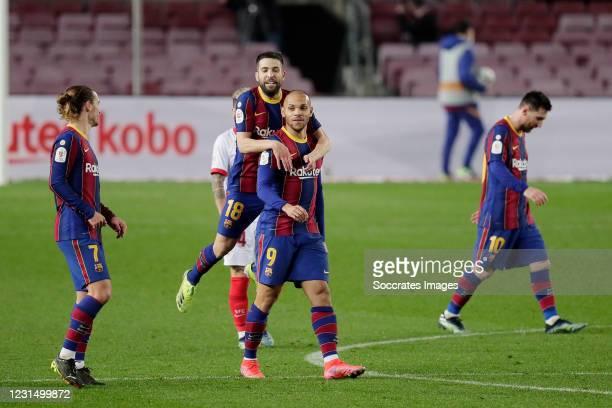 Martin Braithwaite of FC Barcelona celebrates 3-0 with Jordi Alba of FC Barcelona, Antoine Griezmann of FC Barcelona during the Spanish Copa del Rey...