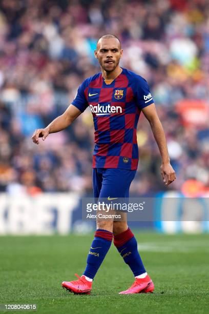 Martin Braithwaite of FC Barcelona looks on during the La Liga match between FC Barcelona and SD Eibar SAD at Camp Nou on February 22, 2020 in...