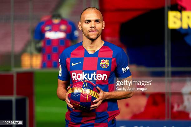 Martin Braithwaite of FC Barcelona poses for the media during his unveiling at Camp Nou on February 20, 2020 in Barcelona, Spain.