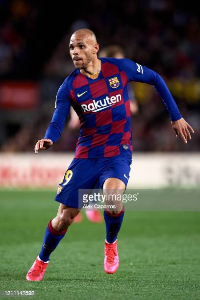 Martin Braithwaite of FC Barcelona runs during the Liga match between FC Barcelona and Real Sociedad at Camp Nou on March 07 2020 in Barcelona Spain