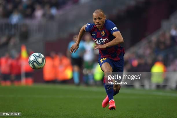 Martin Braithwaite of FC Barcelona runs with the ball during the La Liga match between FC Barcelona and SD Eibar SAD at Camp Nou on February 22, 2020...