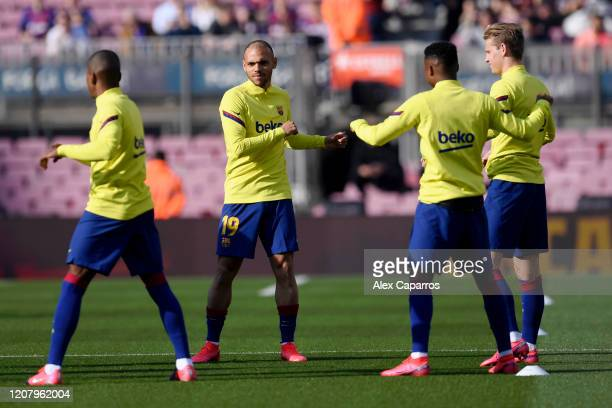 Martin Braithwaite of FC Barcelona warms up prior to the La Liga match between FC Barcelona and SD Eibar SAD at Camp Nou on February 22 2020 in...