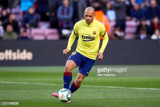 Martin Braithwaite of FC Barcelona warms up prior to the Liga match between FC Barcelona and Real Sociedad at Camp Nou on March 07, 2020 in...