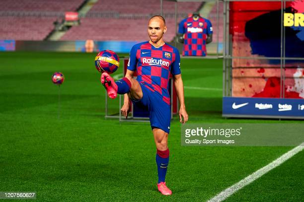 Martin Braithwaite of FC Barcelona with the ball during his unveiling at Camp Nou on February 20 2020 in Barcelona Spain