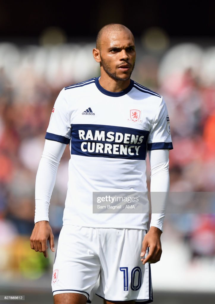 Martin Braithwaite of Middlesborough during the Sky Bet Championship match between Wolverhampton and Middlesbrough at Molineux on August 5, 2017 in Wolverhampton, England.
