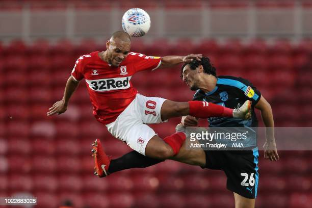 Martin Braithwaite of Middlesbrough and Ahmed Hegazi of West Bromwich Albion during the Sky Bet Championship between Middlesbrough and West Bromwich...