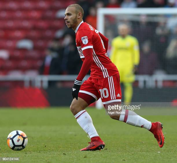 Martin Braithwaite of Middlesbrough during The Emirates FA Cup Third Round match between Middlesbrough and Sunderland at the Riverside Stadium on...