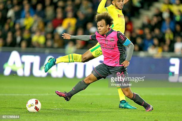 Martin Braithwaite of Toulouse and Diego Santos Silva of Nantes during the Ligue 1 match between Fc Nantes and Toulouse Fc at Stade de la Beaujoire...