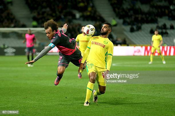 Martin Braithwaite of Toulouse and Levy Djidji of Nantes during the Ligue 1 match between Fc Nantes and Toulouse Fc at Stade de la Beaujoire on...
