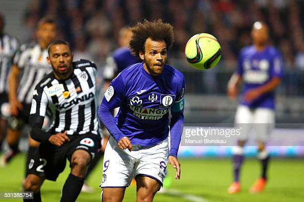 Martin Braithwaite of Toulouse during the football french Ligue 1 match between Angers SCO and Toulouse FC on May 14 2016 in Angers France
