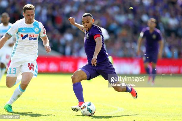 Martin Braithwaite of Toulouse during the Ligue 1 match between Toulouse FC and Olympique de Marseille at Stadium Municipal on April 9, 2017 in...