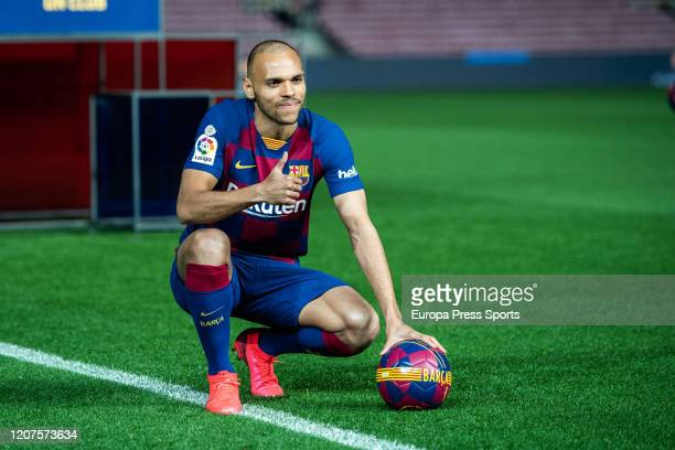 Martin Braithwaite poses for photo with Team Tshirt during his presentation as a new player of FC Barcelona at Camp Nou stadium on February 20 2020...
