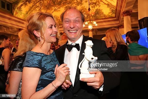 Martin Brambach and his Heidi Brambach with award during the Bayerischer Fernsehpreis 2016 at Prinzregententheater on June 3 2016 in Munich Germany