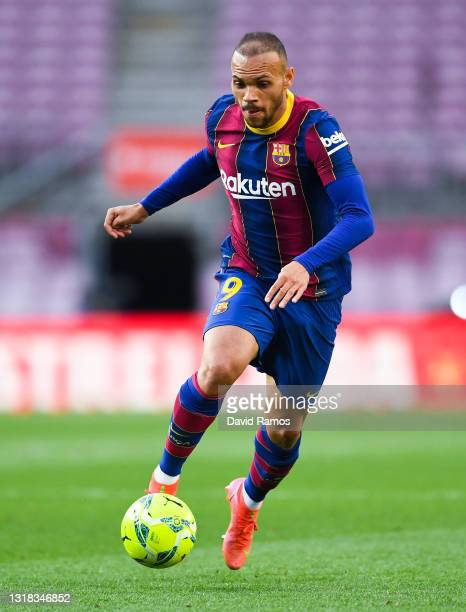Martin Brathwaite of FC Barcelona runs with the ball during the La Liga Santander match between FC Barcelona and RC Celta at Camp Nou on May 16, 2021...