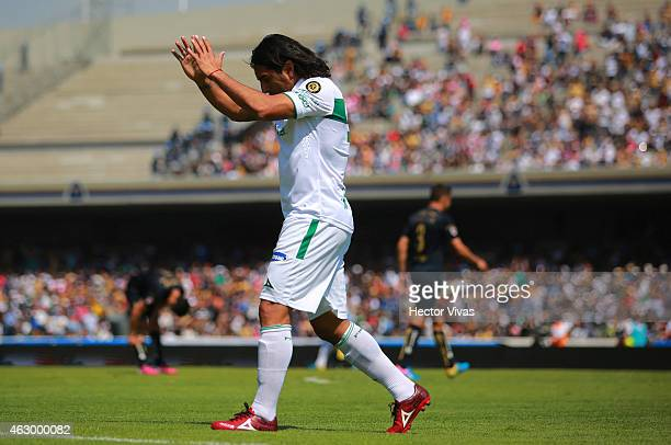 Martin Bravo of Leon celebrates after scoring the third goal of his team during a match between Pumas UNAM and Leon as part of 5th round Clausura...