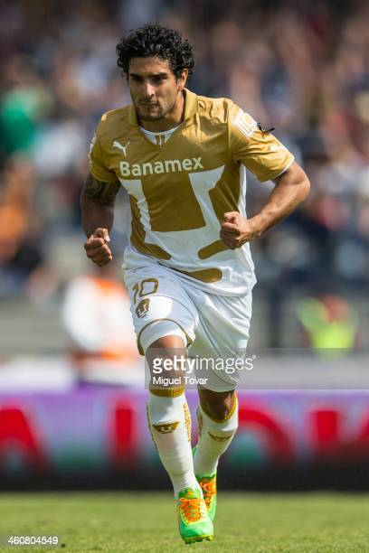 Martin Bravo of Pumas celebrates a scored goal against Puebla during a match between Pumas UNAM and Puebla as part of the Clausura 2014 Liga MX at...