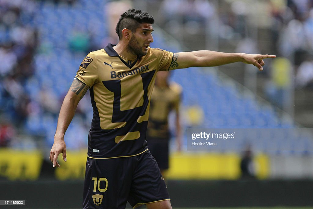 Martin Bravo of Pumas reacts during a match between Pumas and Puebla as part of the Torneo Apertura 2013 Liga Mx at Cuauhtemoc Stadium on July 21, 2013 in Puebla, Mexico.