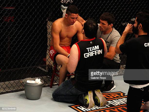 Martin Bravo receives advice from his corner inbetween rounds while facing Leonardo Rodriguez during the filming of The Ultimate Fighter Latin...
