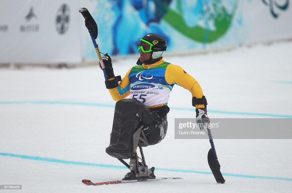 Martin Braxenthaler of Germany celebrates as he wins gold in the Men's Sitting Giant Slalom during Day 5 of the 2010 Vancouver Winter Paralympics at Whistler Creekside on March 16, 2010 in Whistler, Canada.