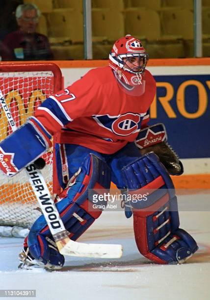 Martin Brochu of the Montreal Canadiens skates against the Toronto Maple Leafs during NHL preseason game action on September 12 1994 at Maple Leaf...